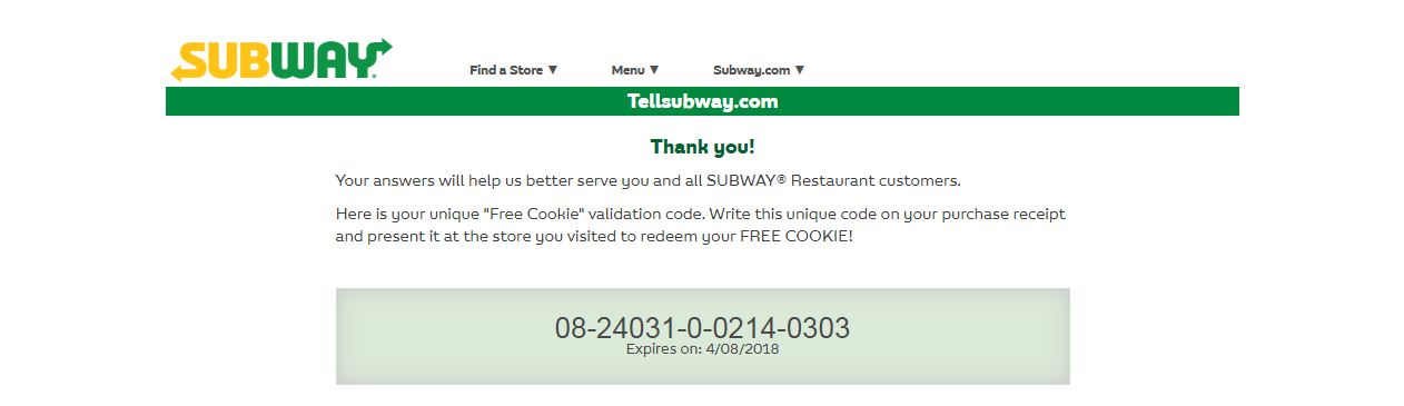 tellsubway free cookie coupon code