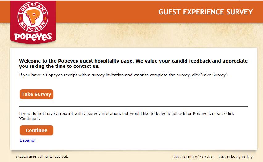 Procedure - Popeyes Survey   Sweepstakes