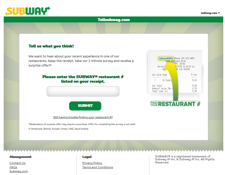 Steps to perform TellSubway Survey & Get the Subway Survey Cookie Code