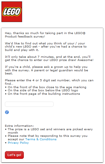 Lego Customer Feedback survey