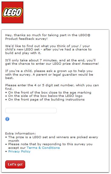 Lego Customer Feedback survey