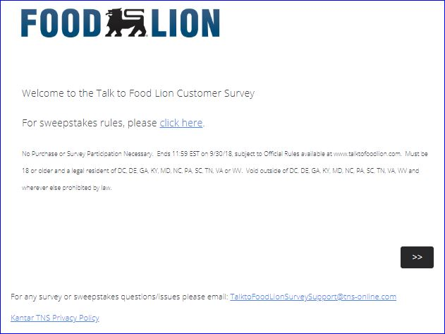 FOOD LION SURVEY STEP