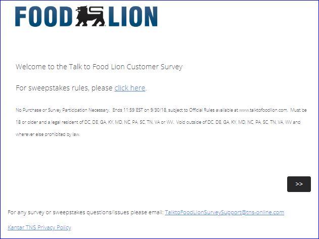 FOOD LION SURVEY STEP