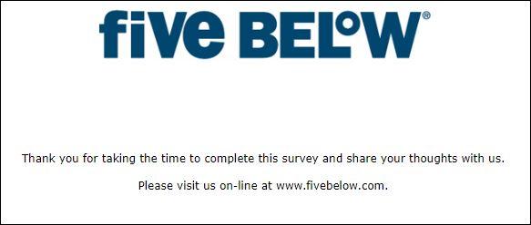 five below survey 6