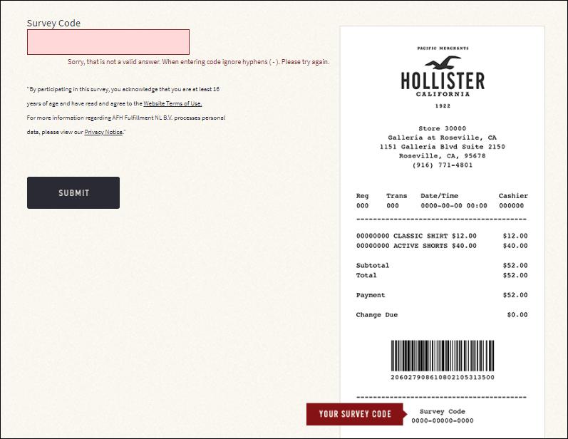 hollister survey step