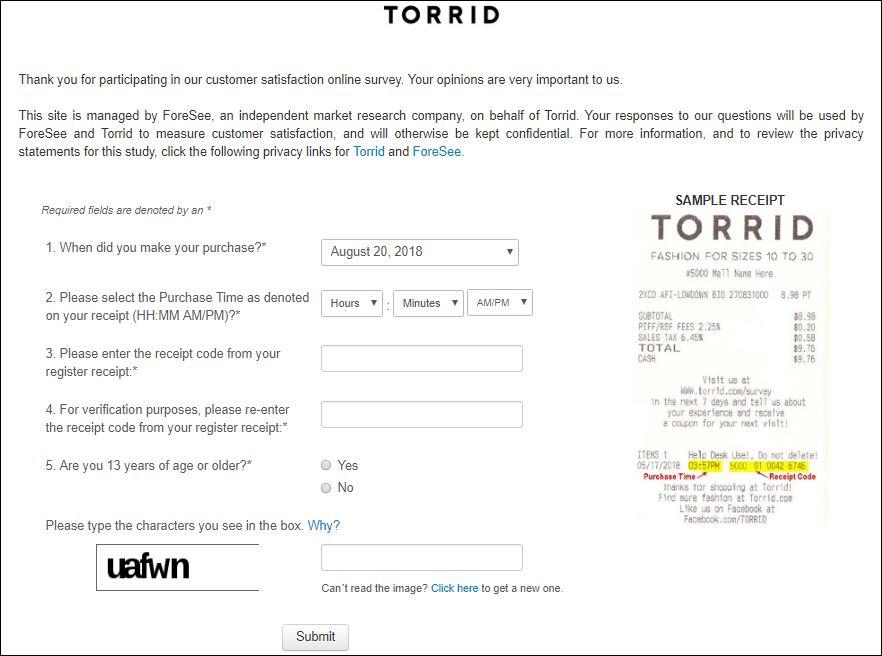 torrid survey 3