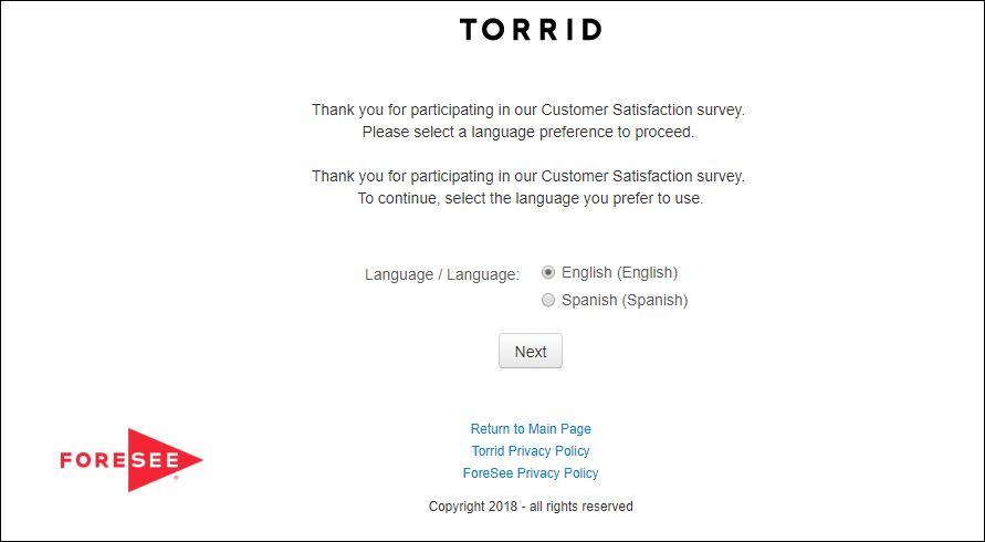 torrid survey