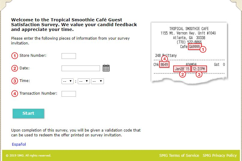 tropical smoothie cafe survey