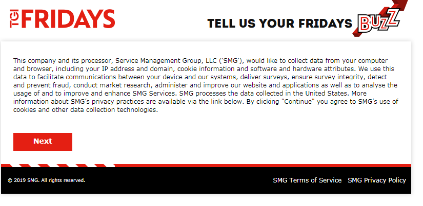 TGI Fridays Customer Feedback Survey