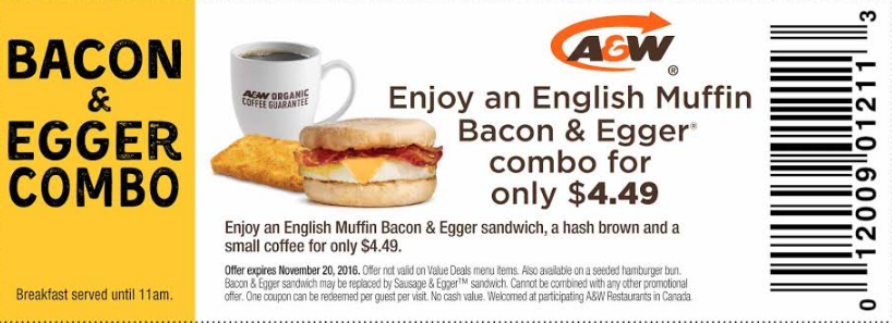 A&W Restaurant Survey Coupons