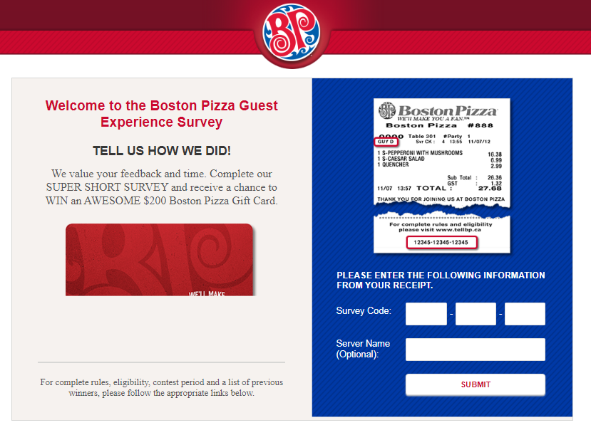 Boston Pizza Customer Feedback Survey