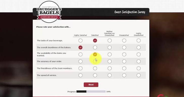 Bruegger's Guest Satisfaction Survey