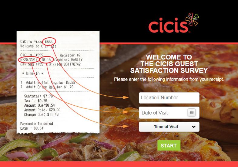 CiCi's Pizza Customer Experience Survey