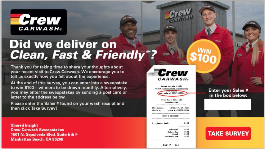Crew Carwash Customer Experience Survey