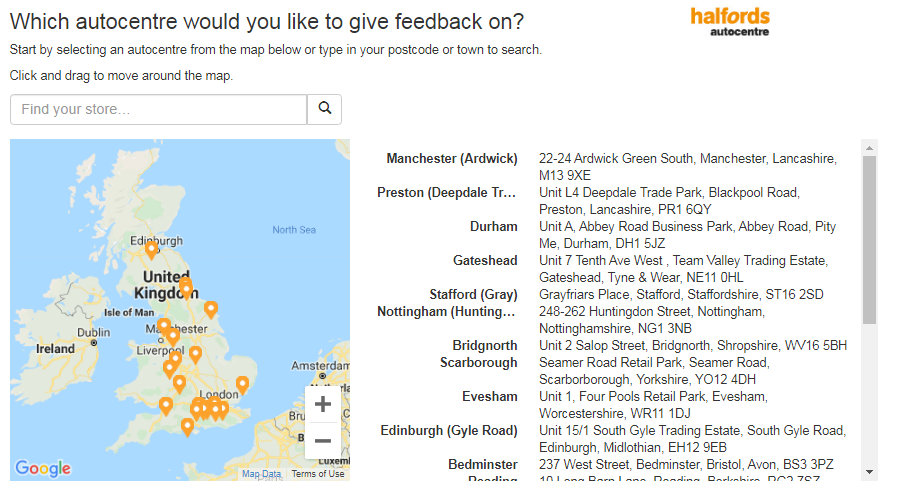 Tell Halfords Autocentre Customer Experience Survey