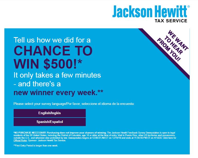 Jackson Hewitt Feedback Survey Sweepstakes