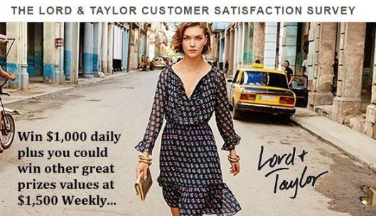 Lord & Taylor Feedback Survey Rewards