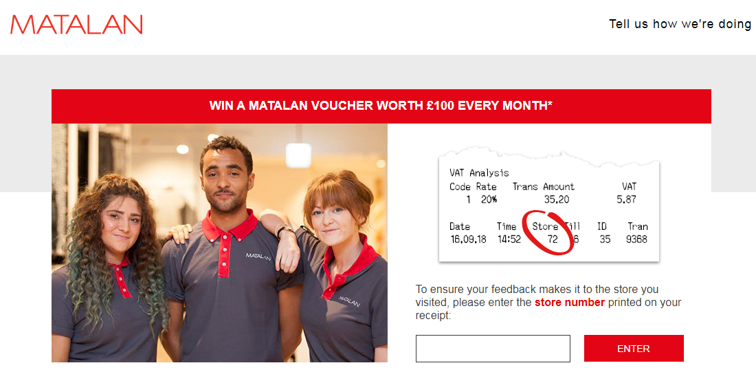 Matalan Customer Experience Survey