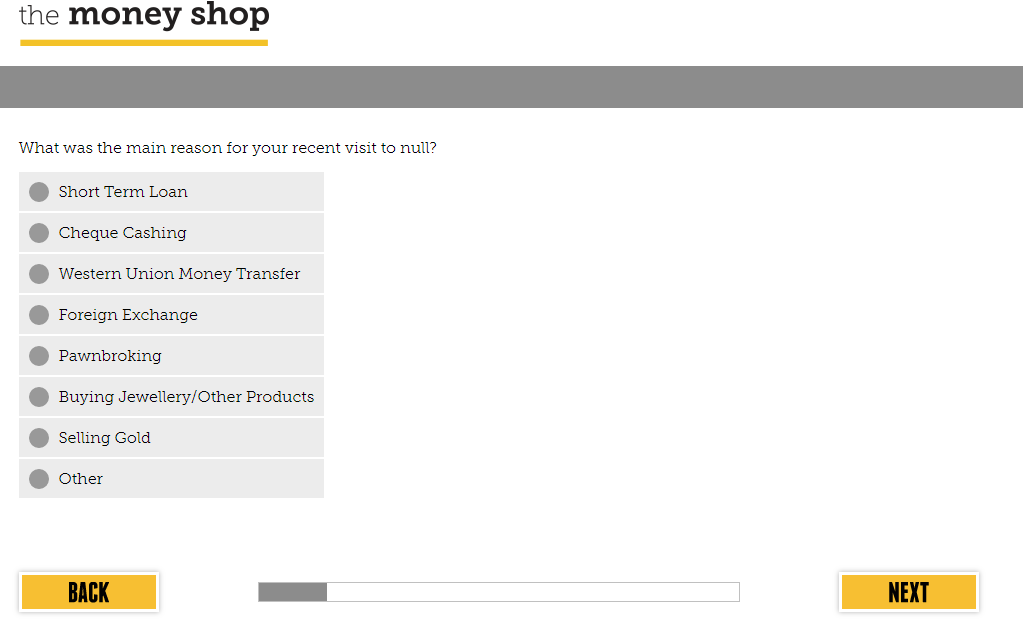 Money Shop Customer Satisfaction Survey