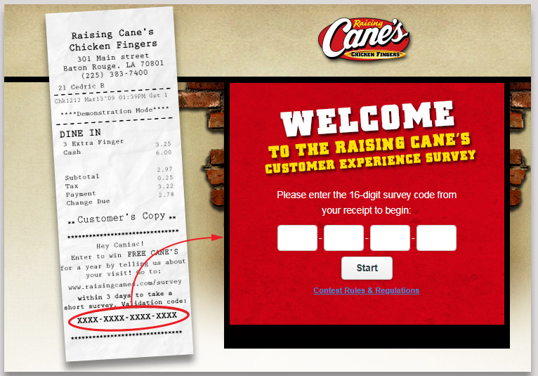 go to www raising cane's com survey
