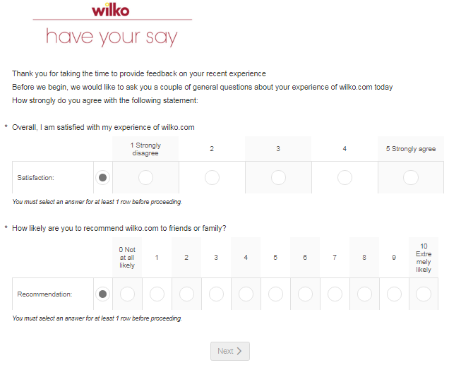 Wilko Guest Experience Survey