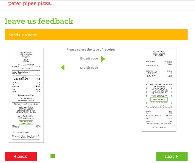 Peter Piper Pizza Customer Feedback Survey