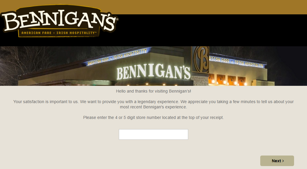 Bennigan's Guest Feedback Survey