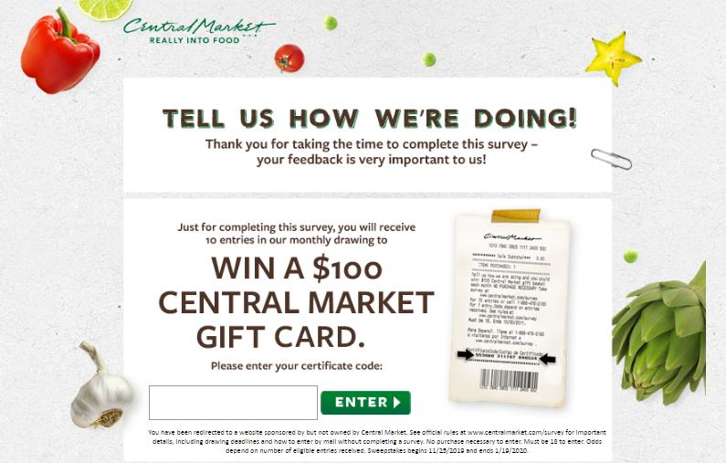 Centralmarket.com Survey To Win Gift Card worth $100