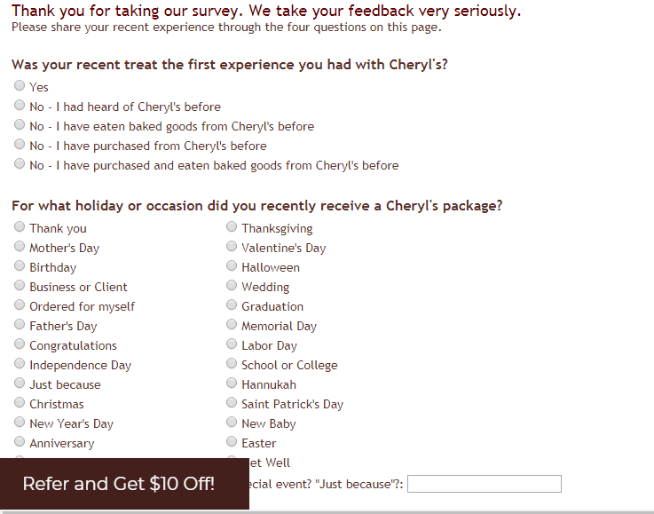 Cheryl's Customer Satisfaction Survey