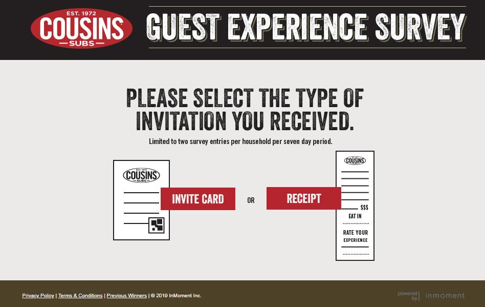 Rate Cousins Subs Survey