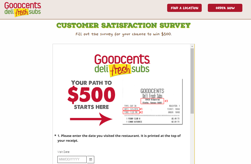 Goodcents Deli Fresh Subs Customer Satisfaction Survey