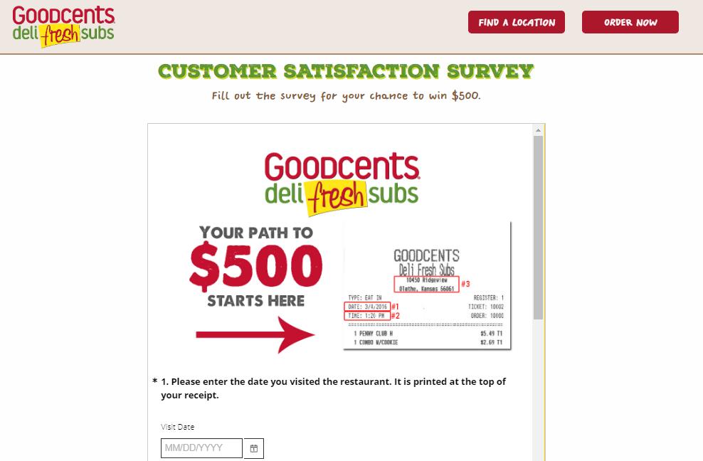 Goodcents Deli Fresh Subs Customer Satisfaction Survey