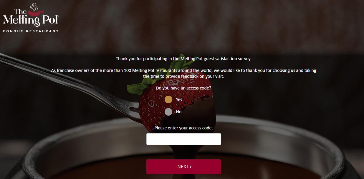 Melting Pot Fondue Online Survey