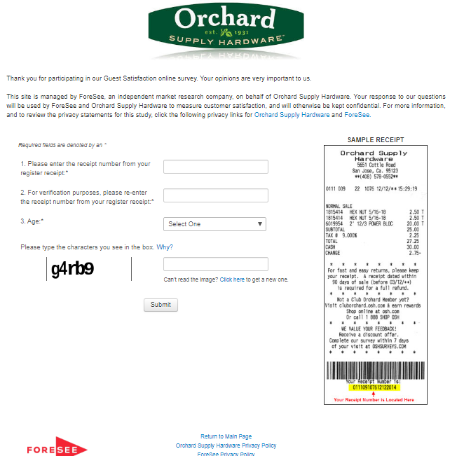 Orchard Supply Hardware Guest Satisfaction Survey