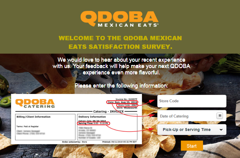 The qdoba mexican eats satisfaction survey.