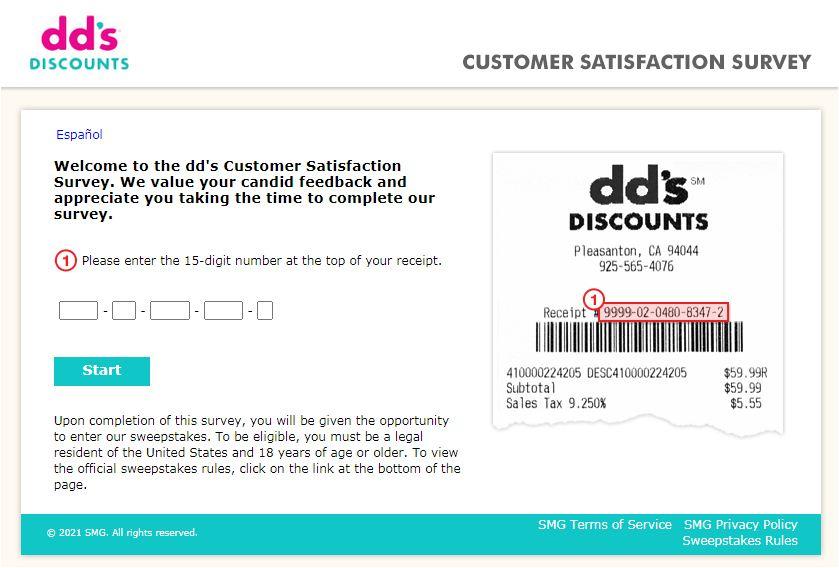 dd's Discounts Receipt Survey