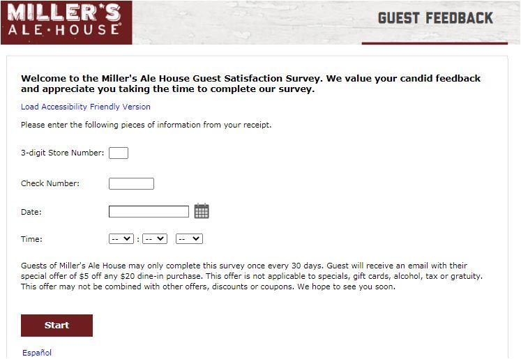 Miller's Ale House Online Survey